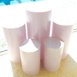 Baby Pink Round Plinths 01