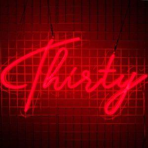 Thirty Birthday Sign Red Neon 01