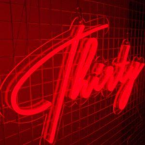 Thirty Birthday Sign Red Neon 02